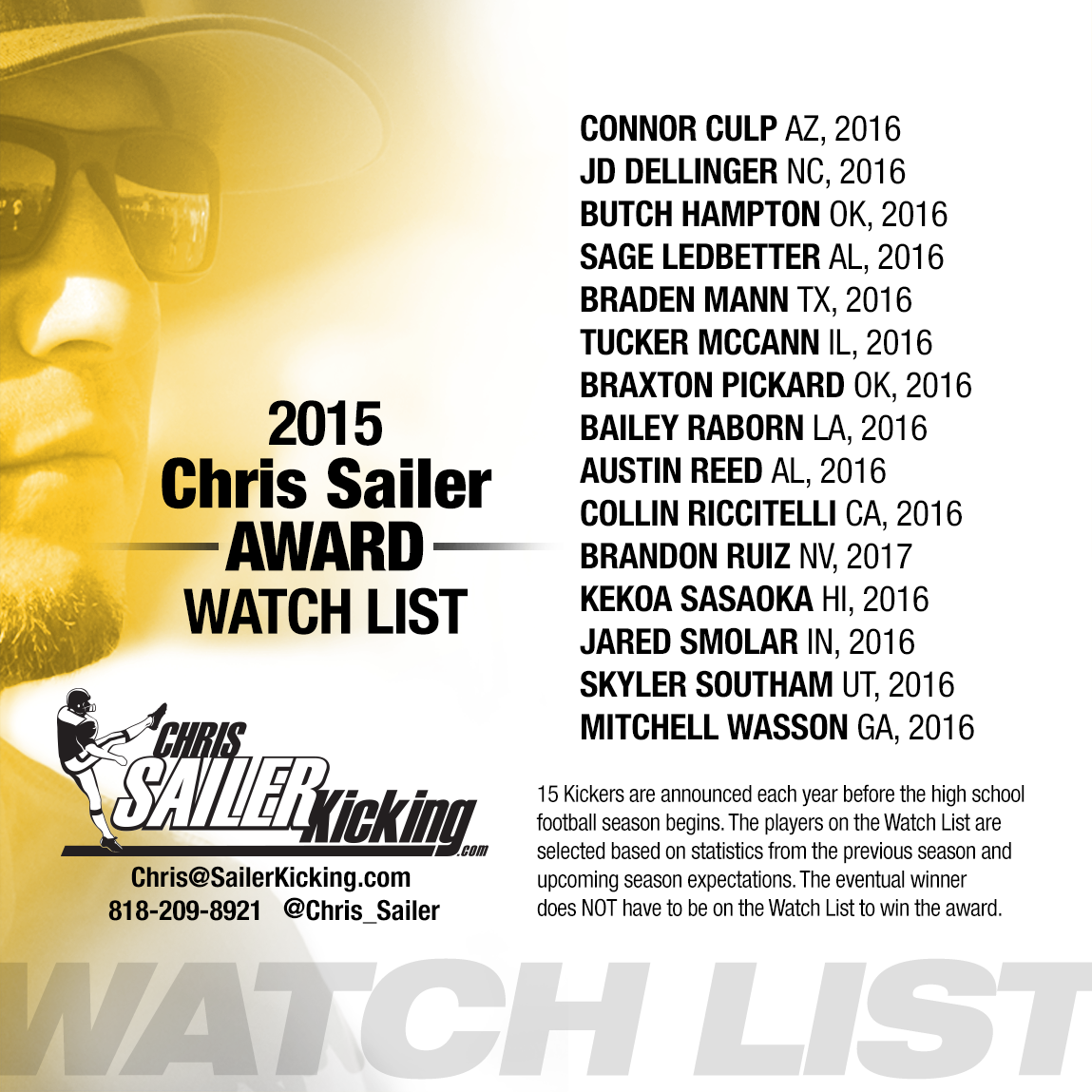 Chris Sailer Award 2015 Watch List Chris Sailer Kicking