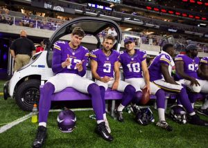 Blair Walsh & Jeff Locke of the Vikings in a 2016 preseason game.